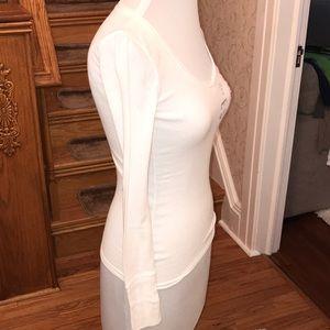 Aeropostale Tops - Aeropostale White and Pink V neck long sleeve. S